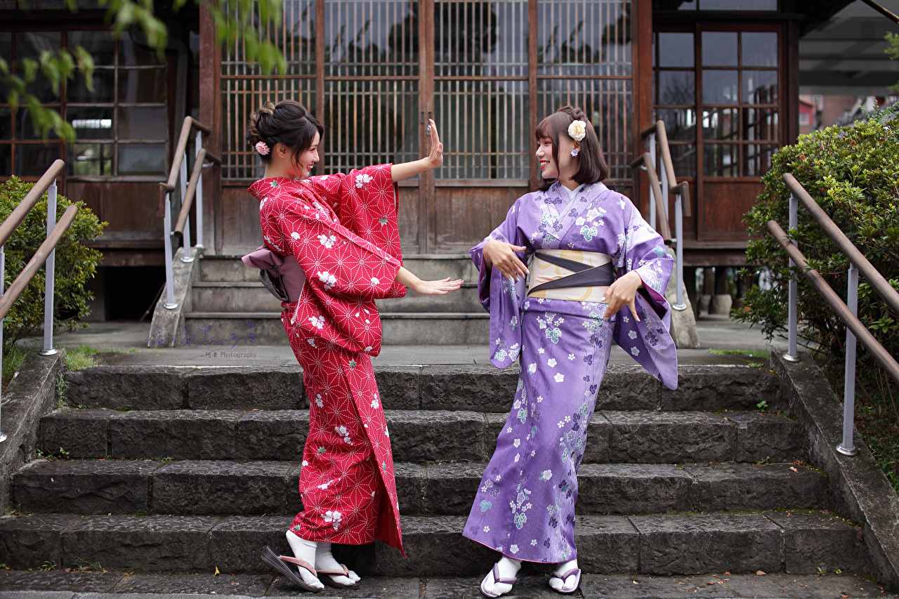 Photo Smile Kimono Two Girls Asiatic Hands 2 female young woman Asian
