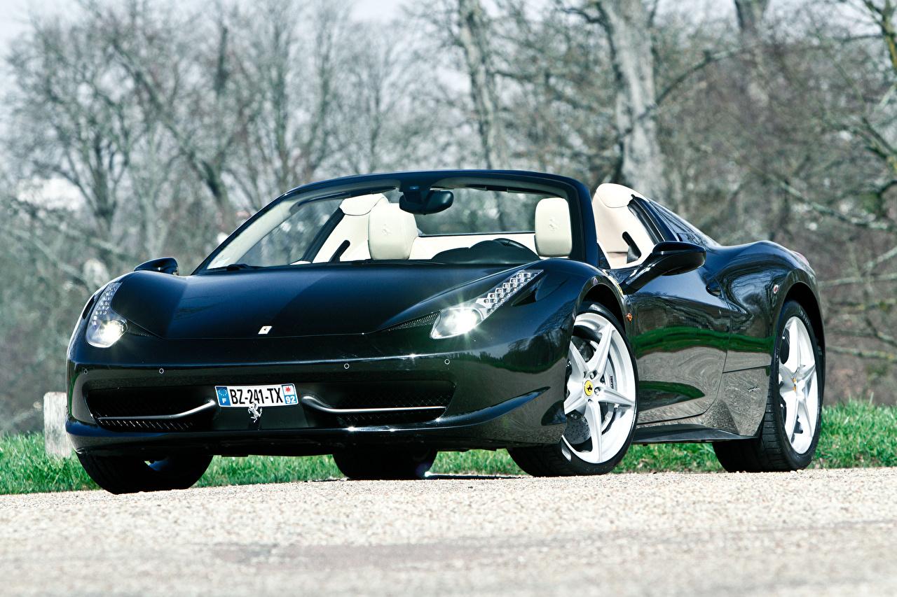 Papeis De Parede Ferrari 458 Italia Cabriole Na Frente Preto Carros Baixar Imagens