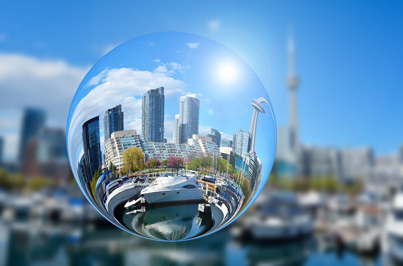 Picture Circles Reflection Balls Yacht Glass Skyscrapers Cities circle reflected