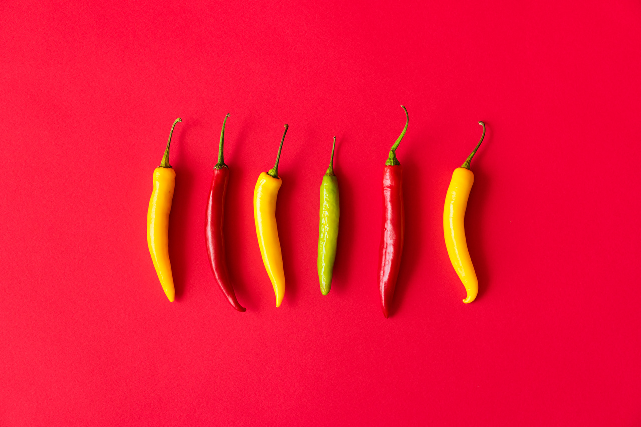Pictures Chili pepper Food Red background