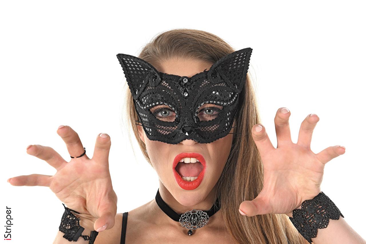Foto Dunkelbraun junge frau Zähne Maske Finger Mädchens junge Frauen
