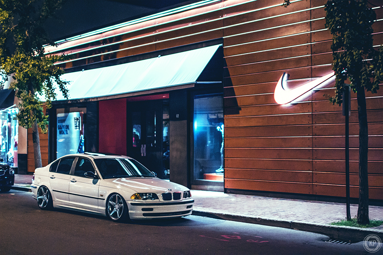 Pictures BMW 323 E46 nike White Street Brands automobile auto Cars brand