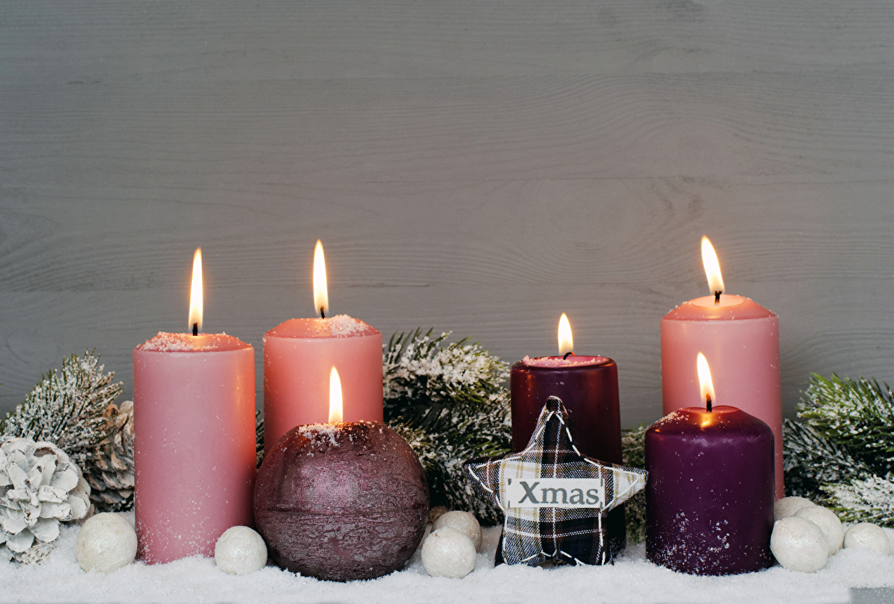 Wallpaper Christmas little stars Fire Candles New year Star decoration flame