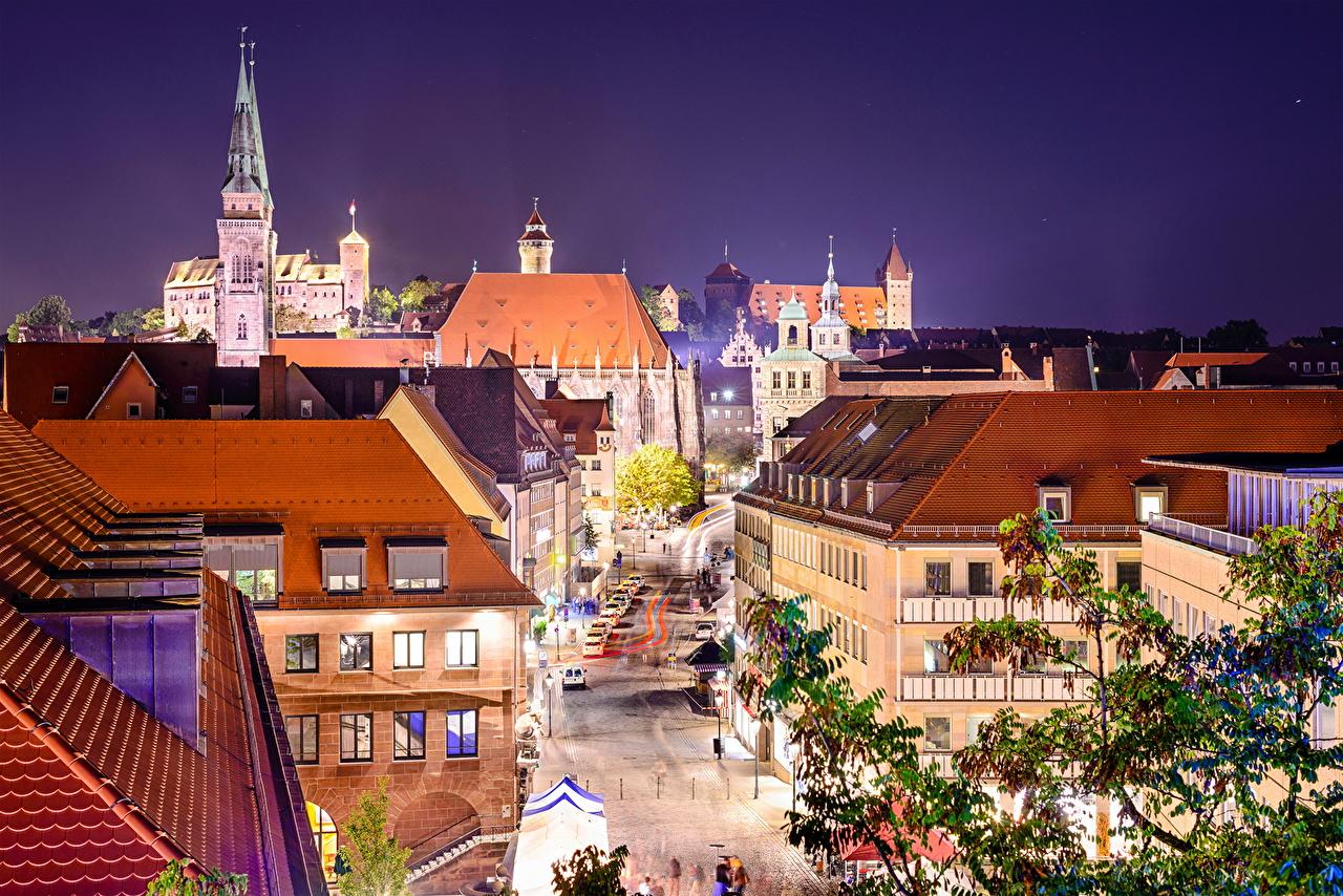 Desktop Wallpapers Nuremberg Germany Street night time Street lights Houses Cities Night Building