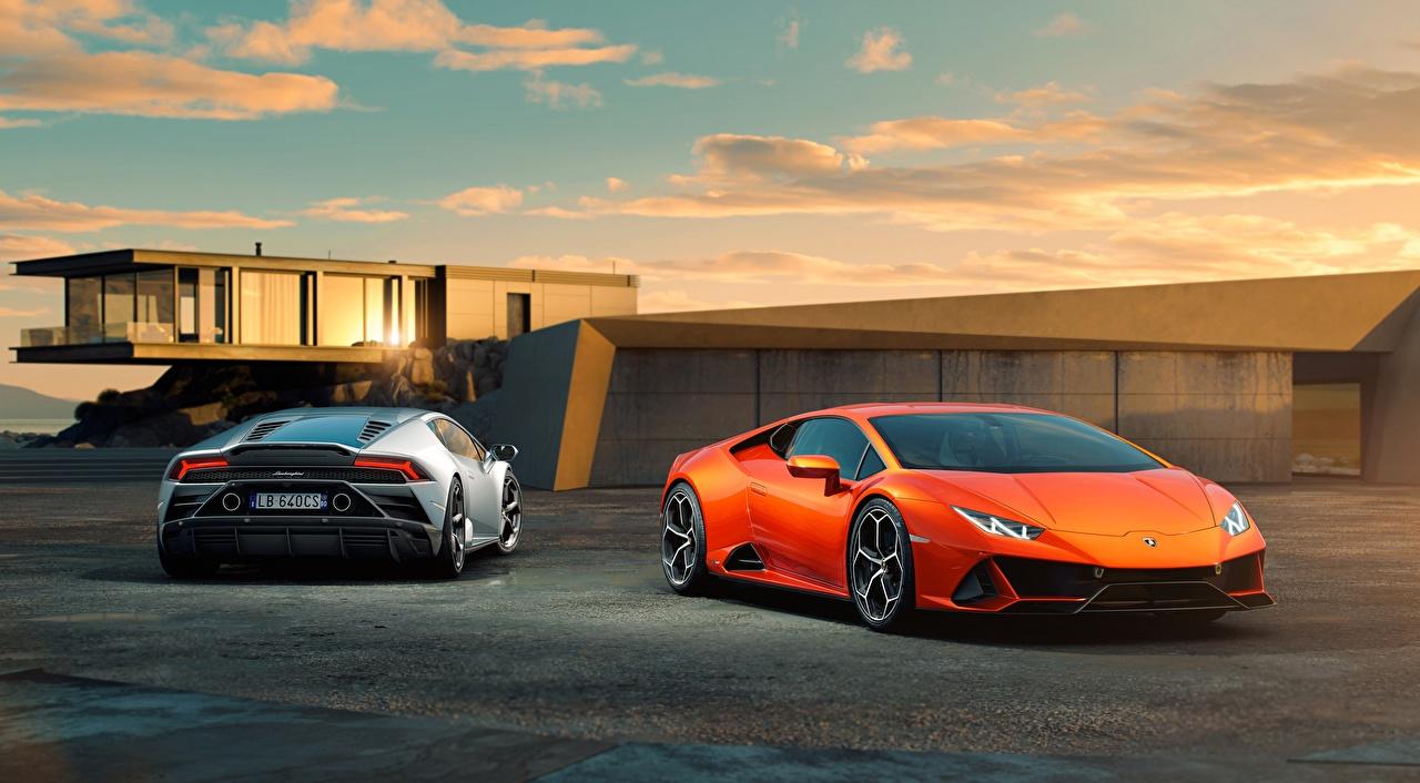 Wallpaper Lamborghini Huracan, EVO, 2019 Coupe Two Orange Cars Front Back view 2 auto automobile