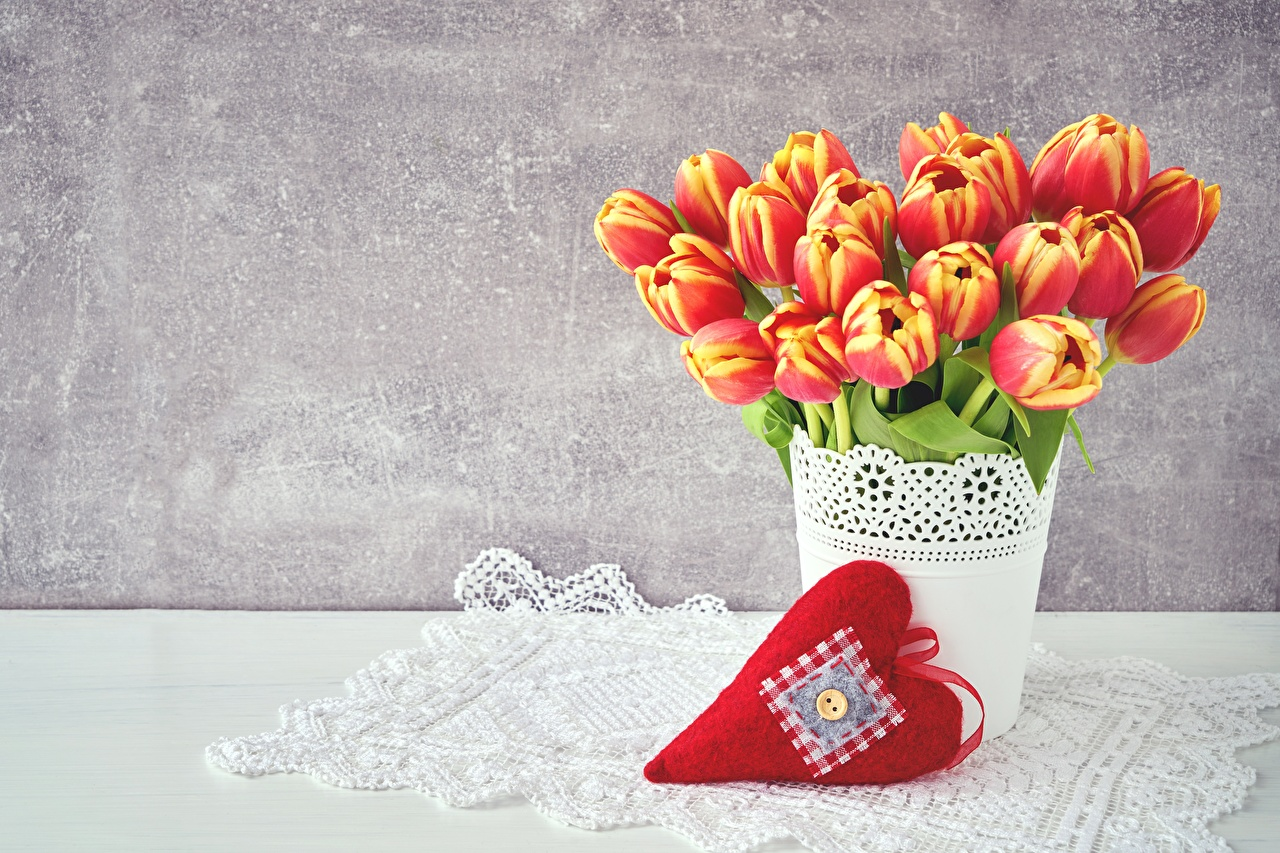 Pictures Valentine's Day Heart Tulips Flowers