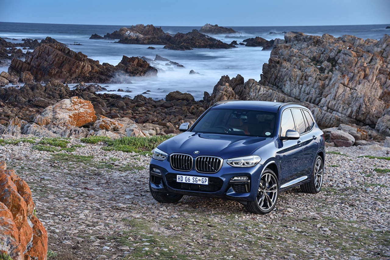 Pictures BMW 2017-18 X3 M40i Blue Cars Metallic auto automobile