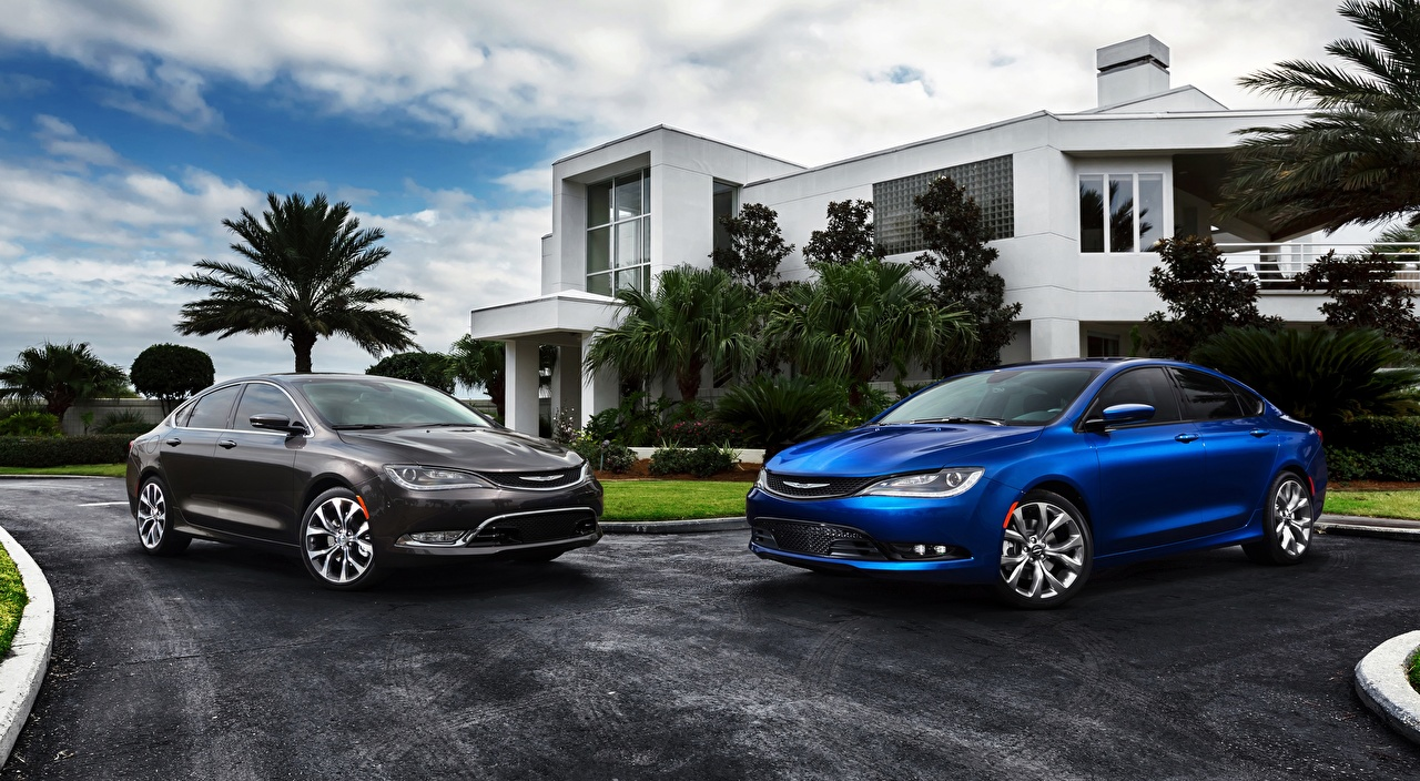 Wallpaper Chrysler 200S, AWD, 2014 Sedan 2 Blue gray automobile Two Grey Cars auto