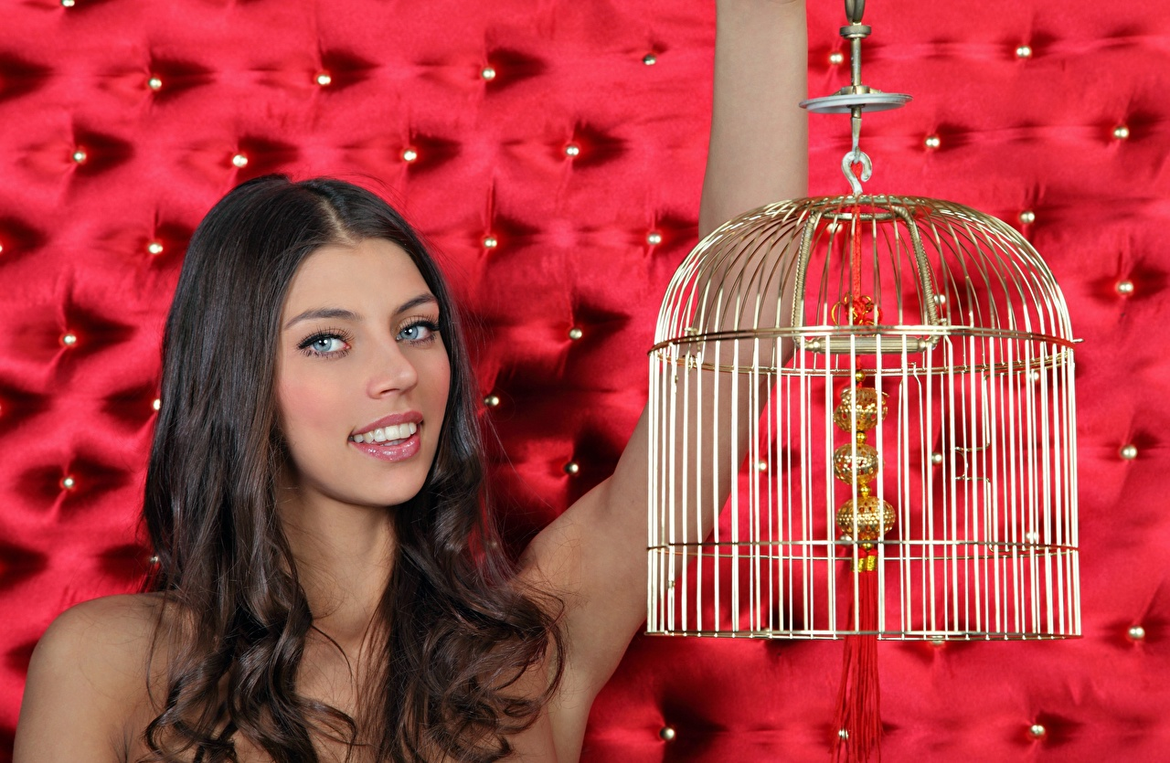 Image FERGIE A Valentina Kolesnikova Brown haired Smile Bird cage Girls Glance female young woman Staring