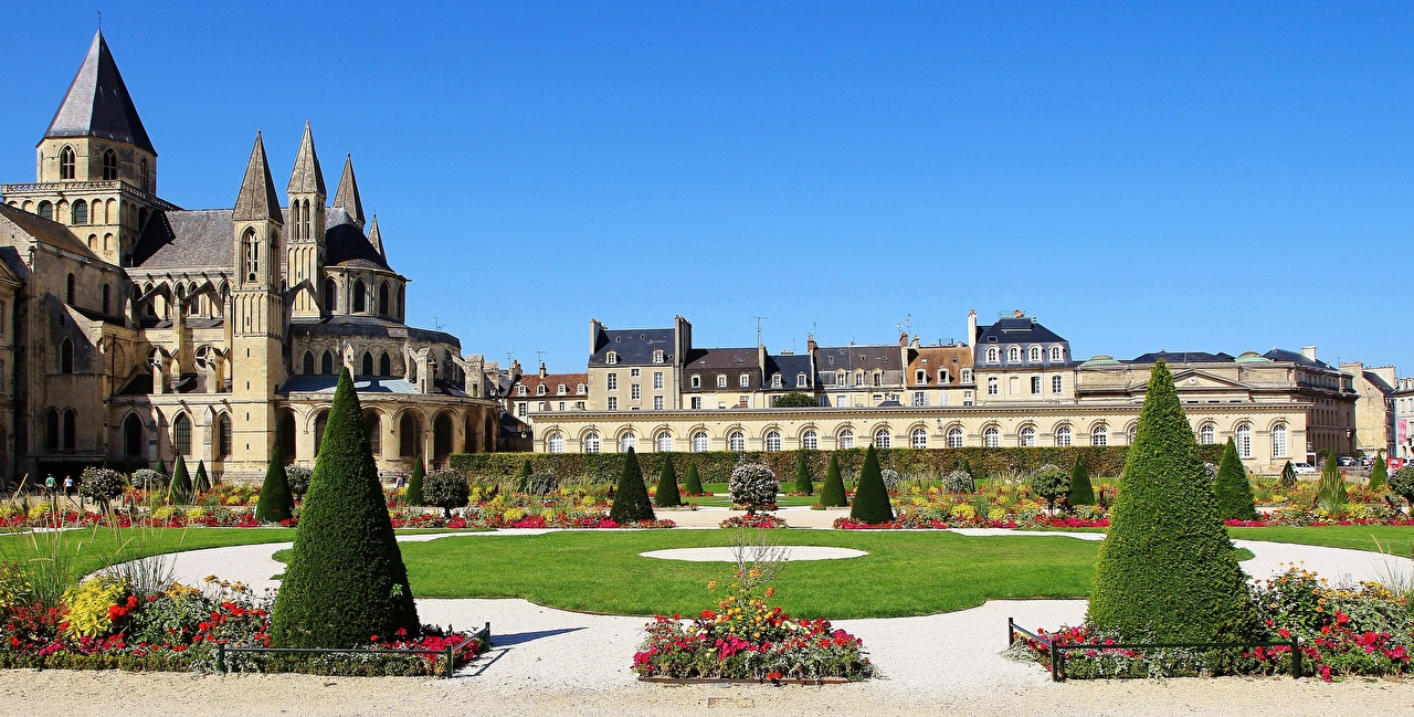 Images Church France towers St Stephen's Church, Caen Lawn Cities Tower