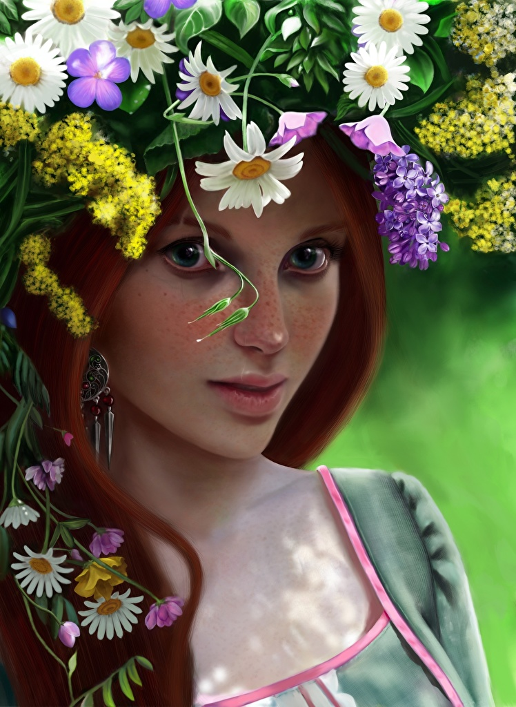 Wallpaper Redhead girl Beautiful Wreath female Glance Painting Art  for Mobile phone Girls young woman Staring