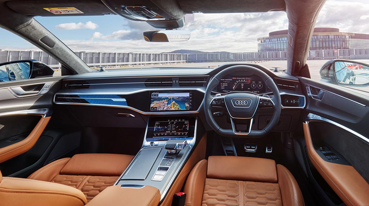Photo Audi Salons Steering wheel RS 7 Sportback AU-spec, 2020 auto Driving wheel Cars automobile