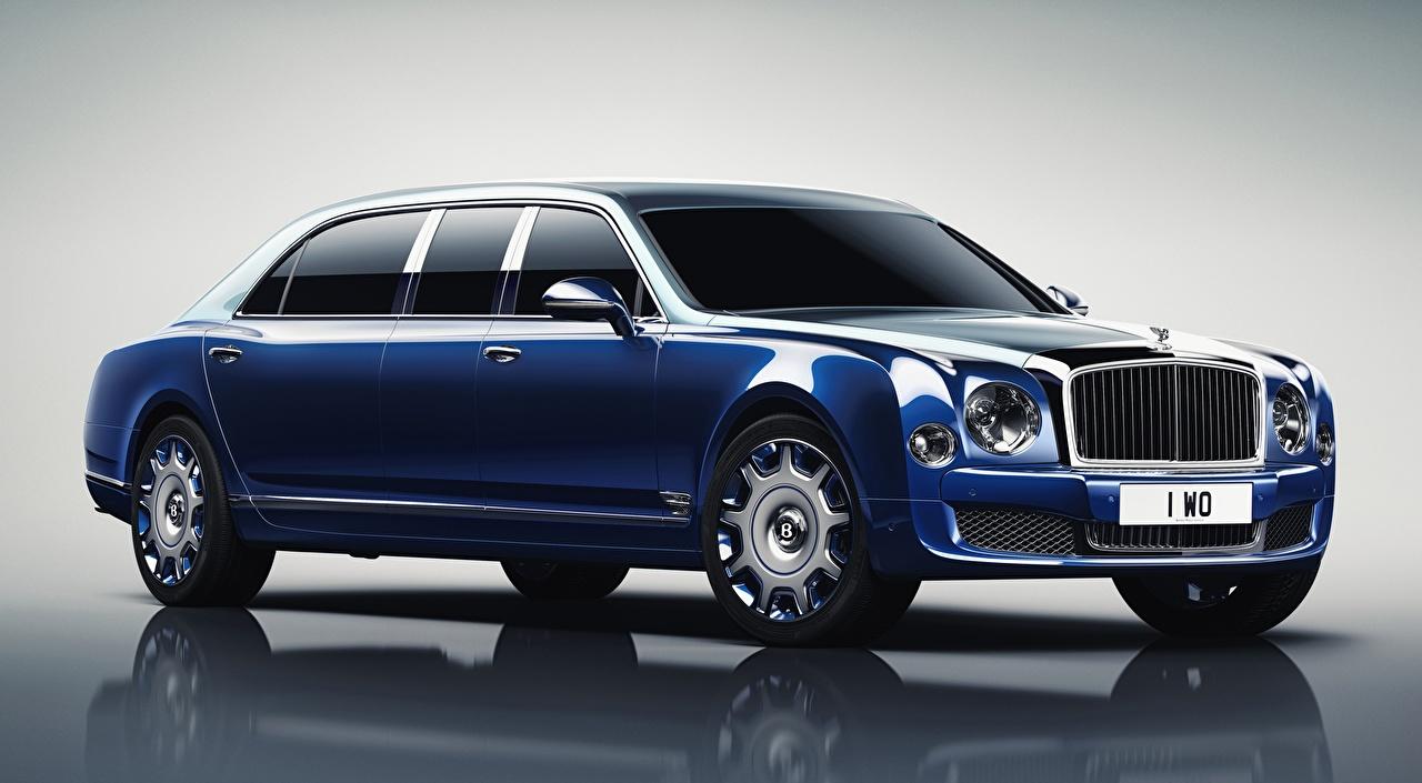 Desktop Hintergrundbilder Bentley Mulsanne, Grand Limousine by Mulliner, 2016 Luxus Blau automobil Metallisch auto Autos