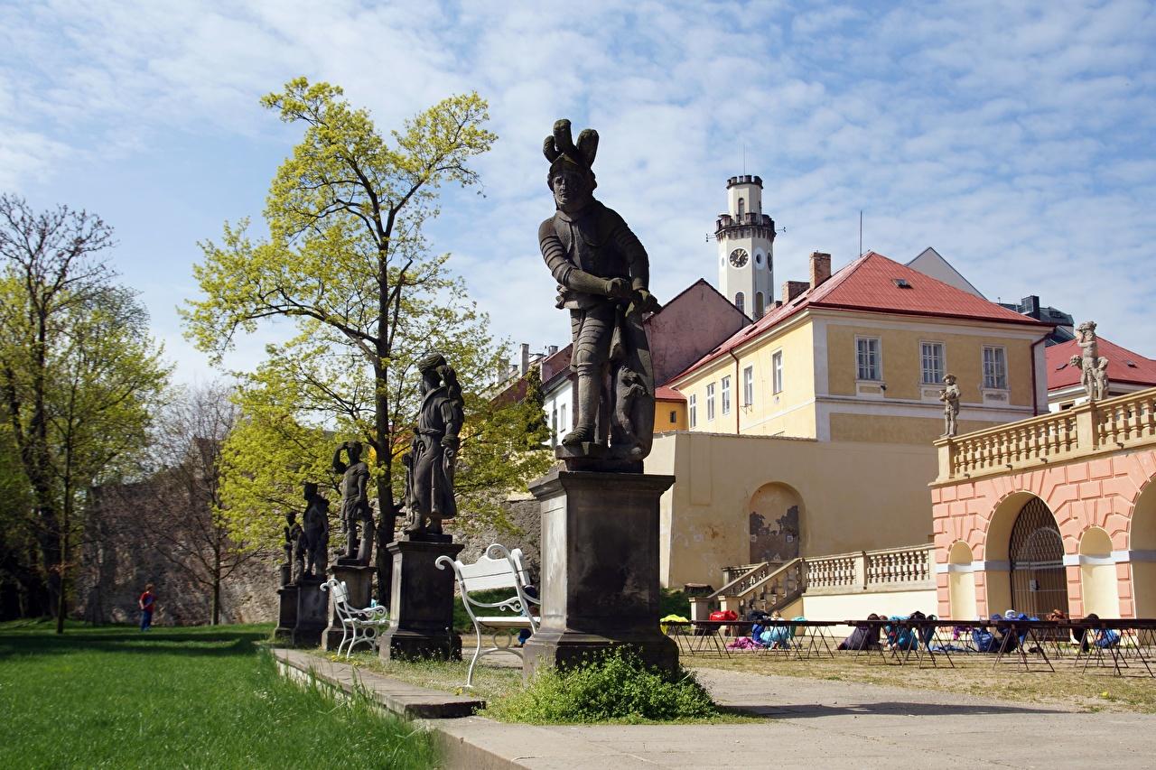 Photo Czech Republic castle Parks Bench Trees Cities Sculptures Castles park
