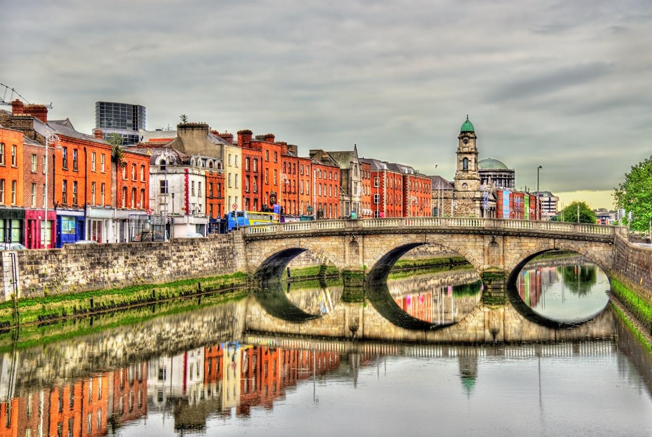 Picture Dublin Ireland Liffey river, Province Leinster HDR Bridges reflected river Houses Cities HDRI bridge Reflection Rivers Building