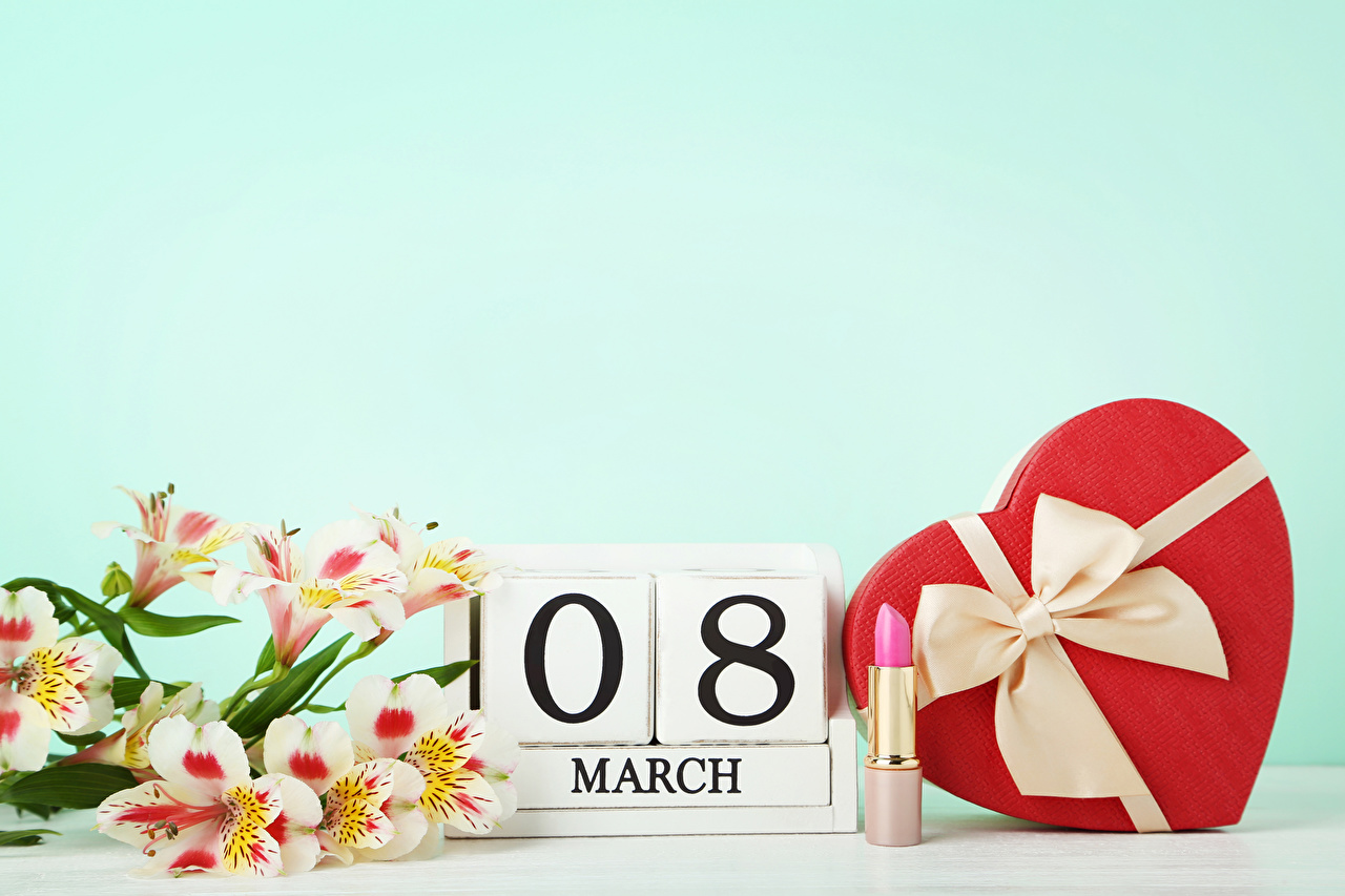 Picture March 8 English Heart Gifts Flowers Alstroemeria Bowknot Holidays International Women's Day present bow