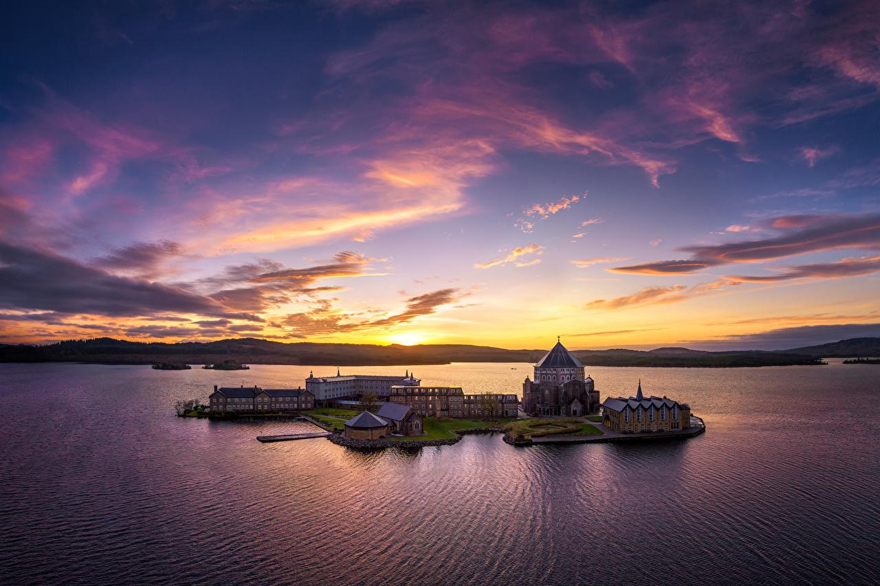 Bilder von Kirchengebäude Irland Donegal, Lough Derg, St Patrick's Sanctuary Natur See Insel Himmel Morgendämmerung und Sonnenuntergang Abend Kirche Sonnenaufgänge und Sonnenuntergänge