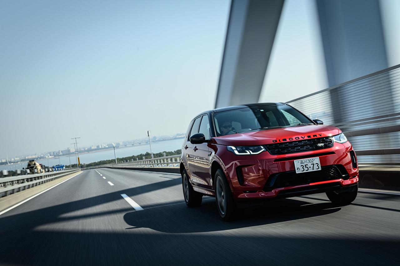 Land Rover Estradas Discovery Sport D180 SE R-Dynamic, JP-spec, L550, 2020 Movimento SUV Vermelho Metálico carro, automóvel, automóveis, velocidade, Veículo utilitário esportivo Carros