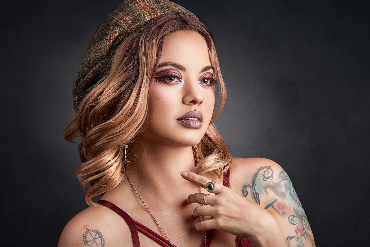 Images Tattoos Body piercing Makeup Beret female Hands Staring Girls young woman Glance