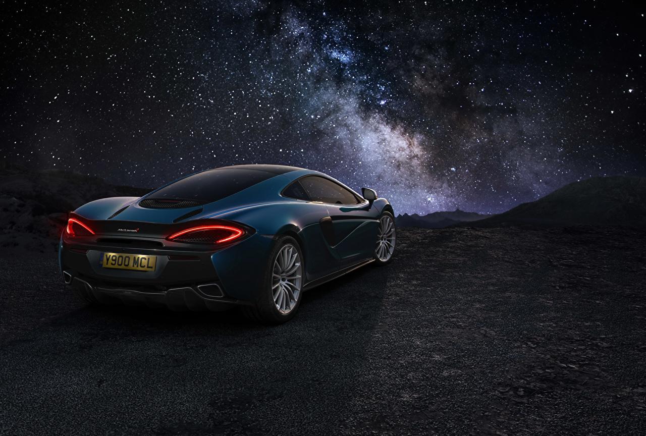 Desktop Wallpapers McLaren 2016 570GT Blue auto Back view Cars automobile