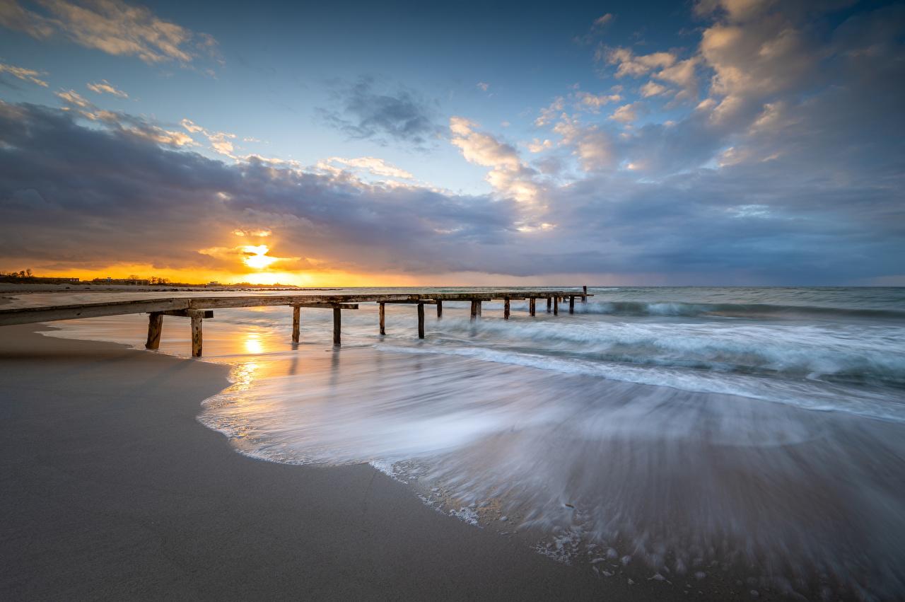 Image Germany Heiligenhafen Nature sunrise and sunset Coast Berth Clouds Sunrises and sunsets Pier Marinas