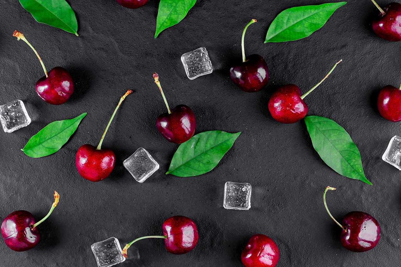 Photo Leaf Ice Cherry Food Foliage