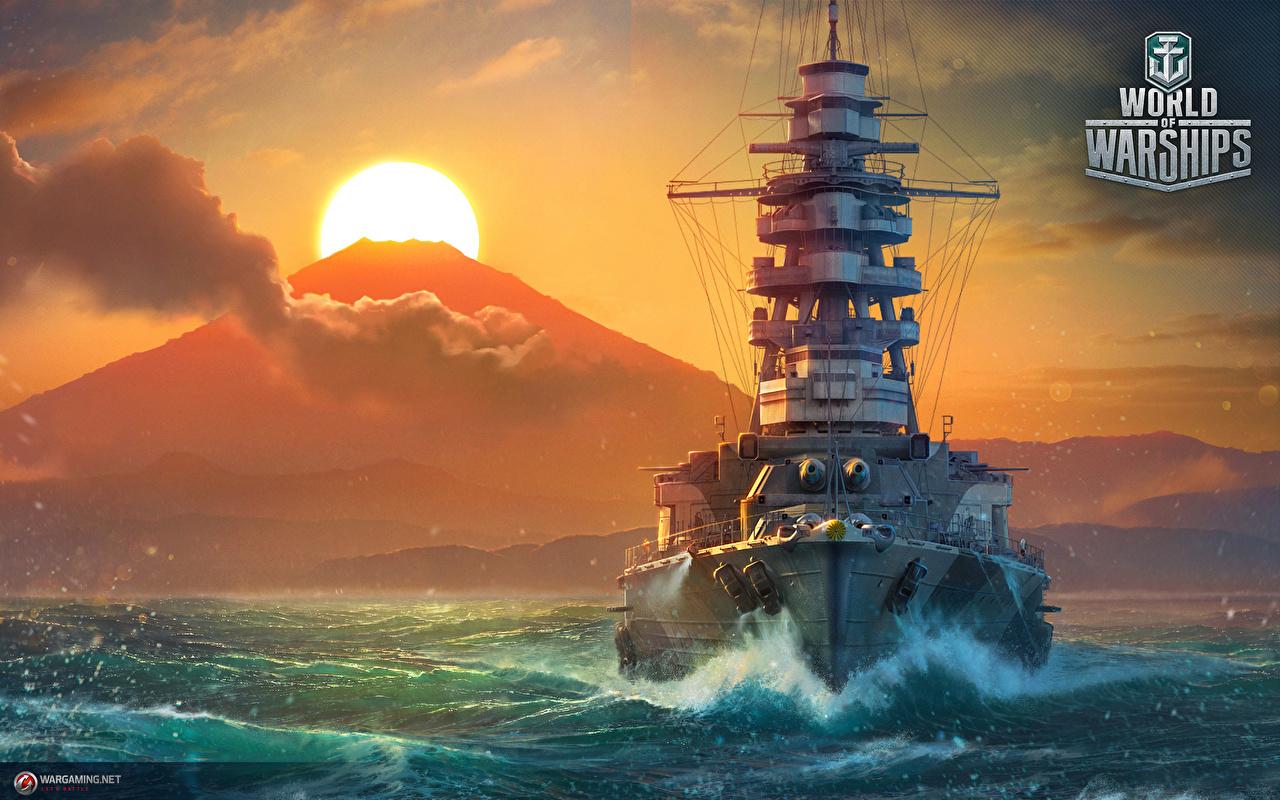 Fotos von World Of Warship Japanisch Mutsu Sonne Spiele Schiffe Sonnenaufgänge und Sonnenuntergänge Heer 1280x800