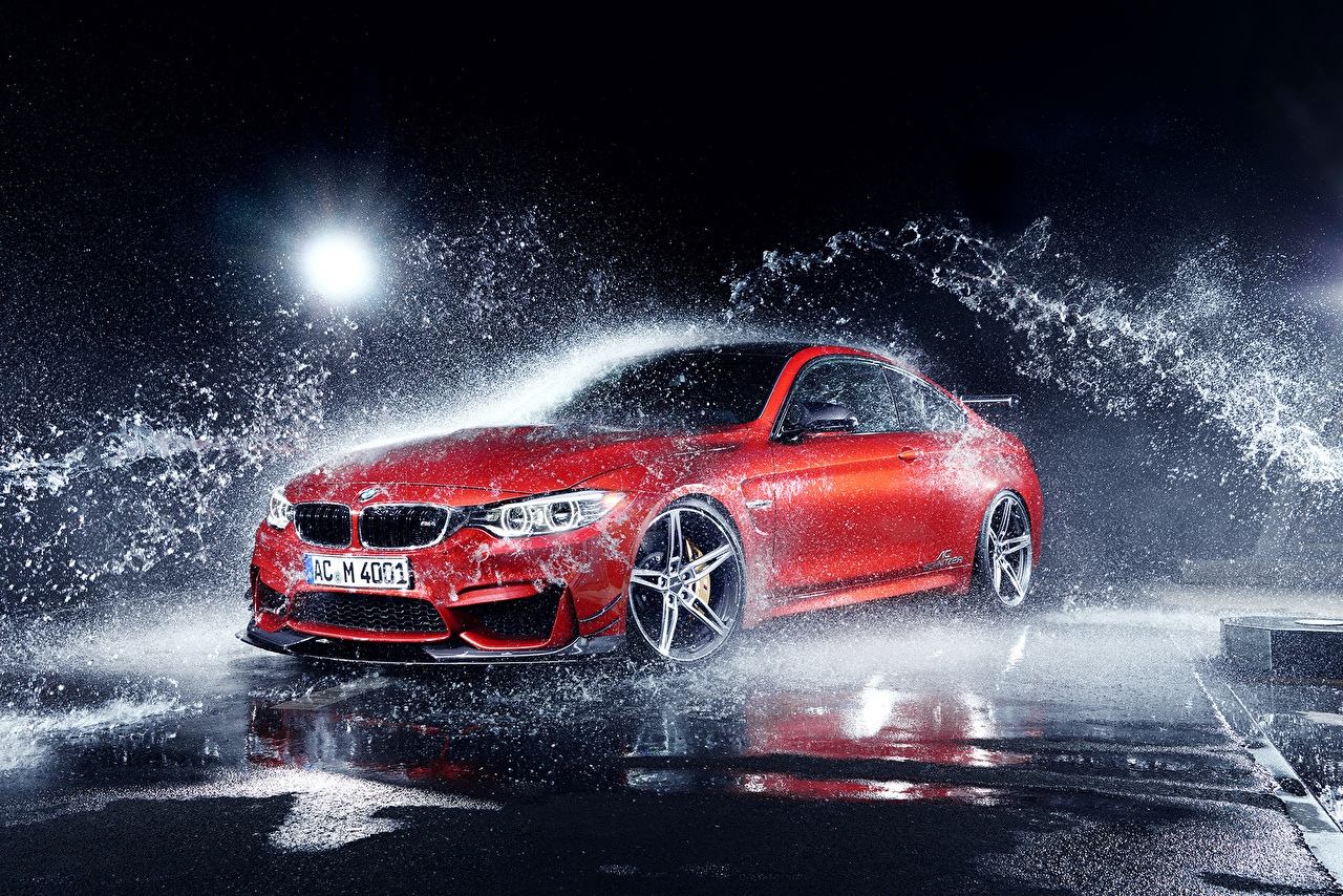 Photo BMW M4 Coupe F82 by AC-Schnitzer Export Version Red Water splash Cars auto automobile