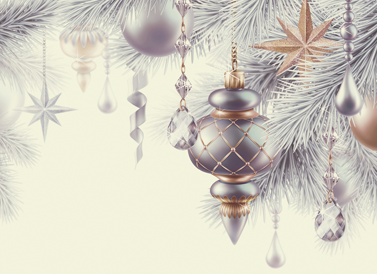 Photo New year 3D Graphics Silver color Balls Christmas