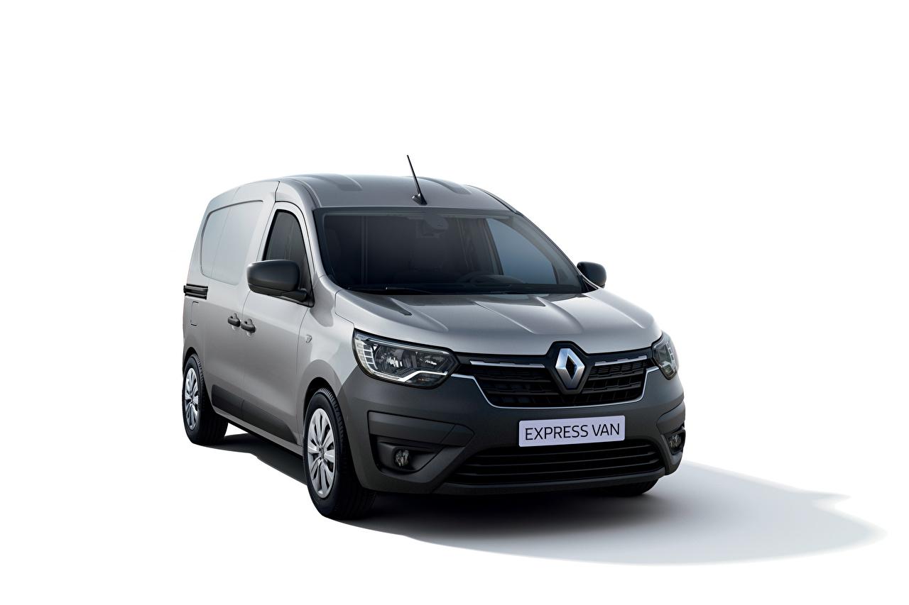 Pictures Renault Express Van, 2021 Minivan gray Cars Metallic White background Grey auto automobile