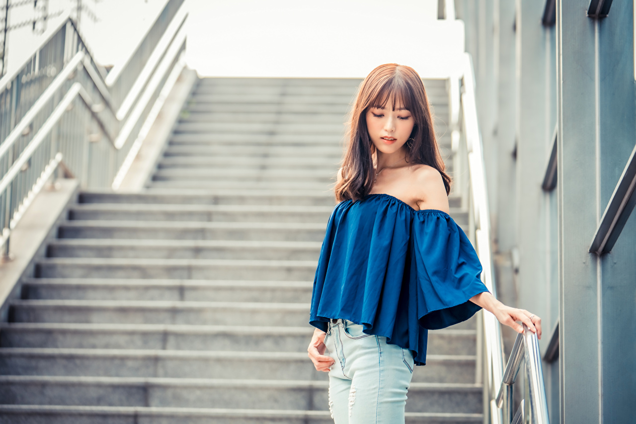 Images Bokeh posing Blouse Girls Stairs Asian Jeans blurred background Pose female stairway staircase young woman Asiatic