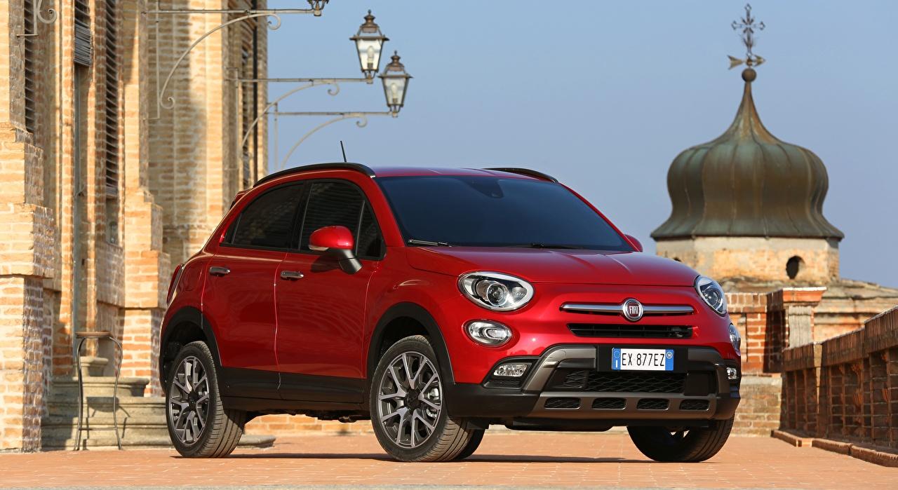 Fiat 500X, Cross, 2015 Rojo Crossover Farola autos, automóvil, automóviles, el carro Coches