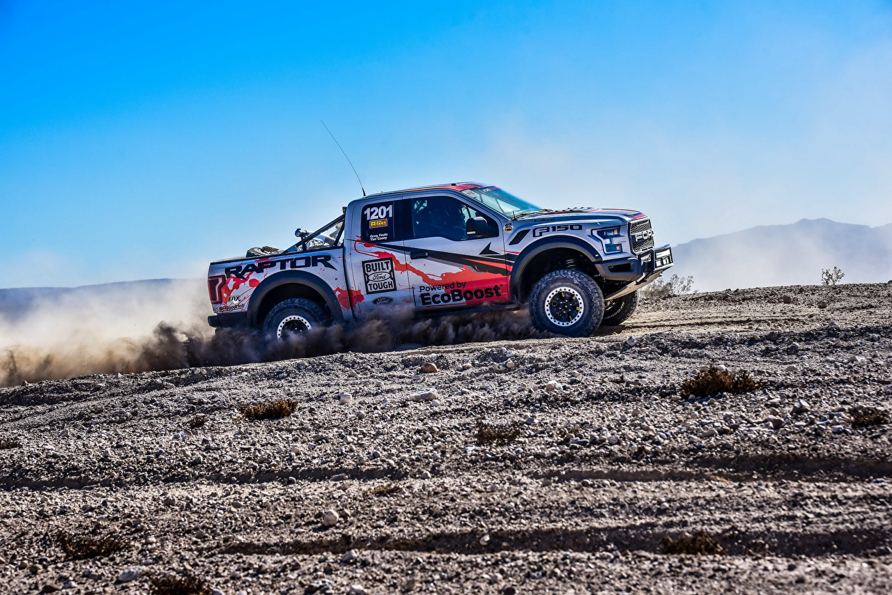 Wallpaper Ford Tuning 2017 F-150 Raptor Race Truck Pickup Side automobile Cars auto