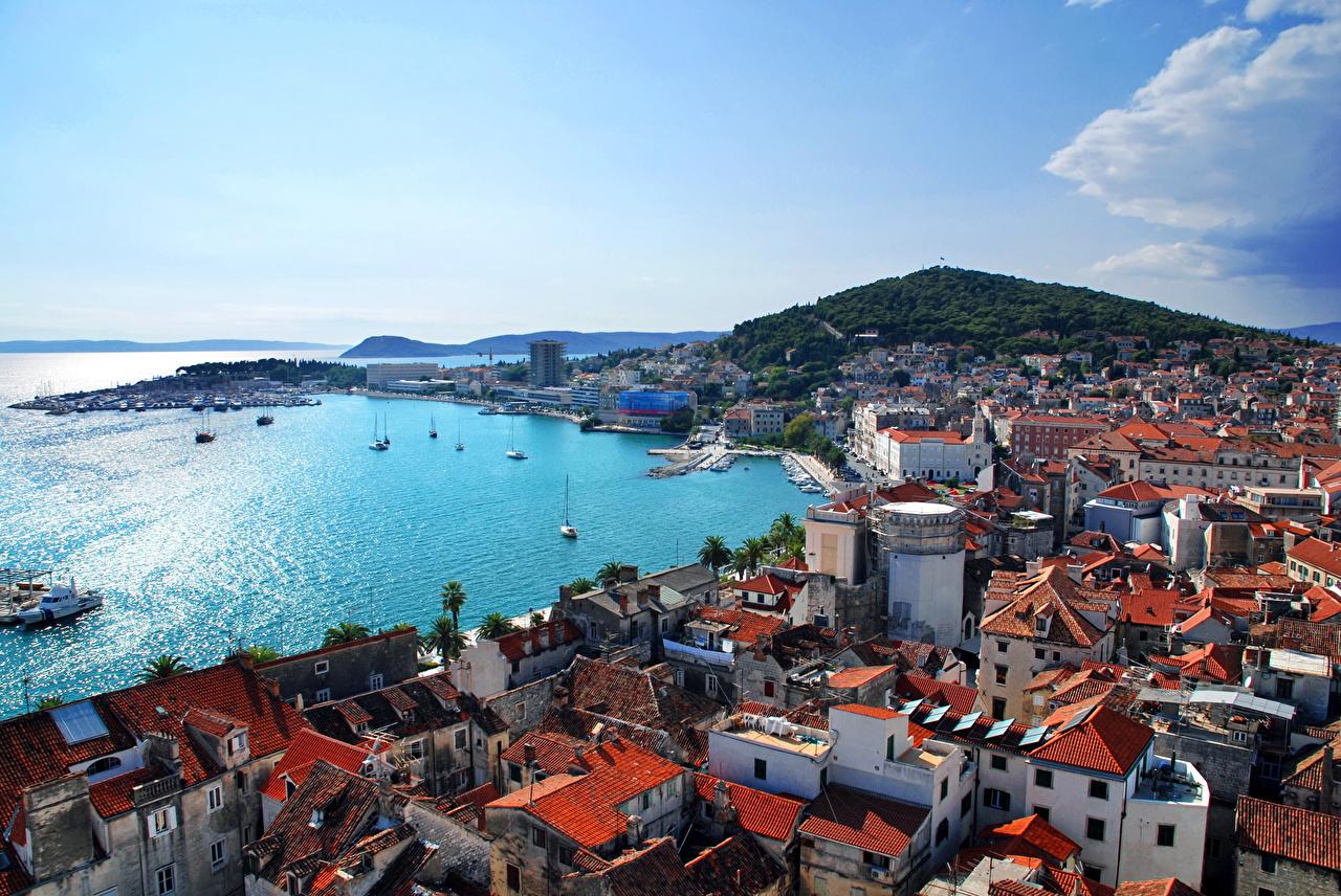 Image City of Split Croatia Coast Cities Building Houses