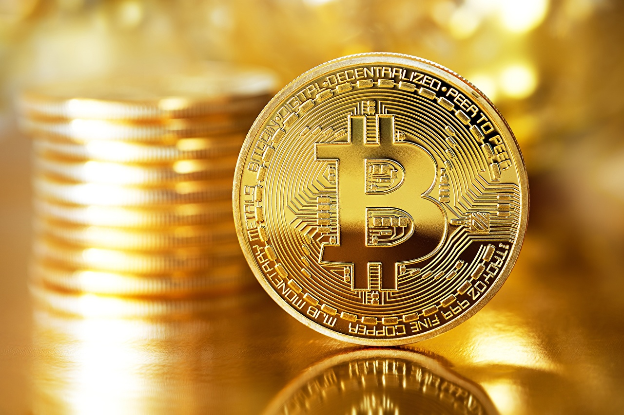 Pictures Coins Bitcoin Gold color