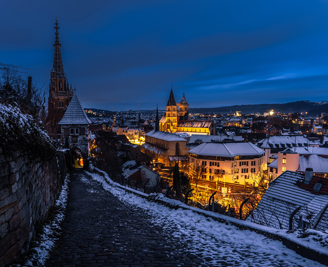 Pictures Germany Esslingen Winter Night Evening Houses Cities night time Building
