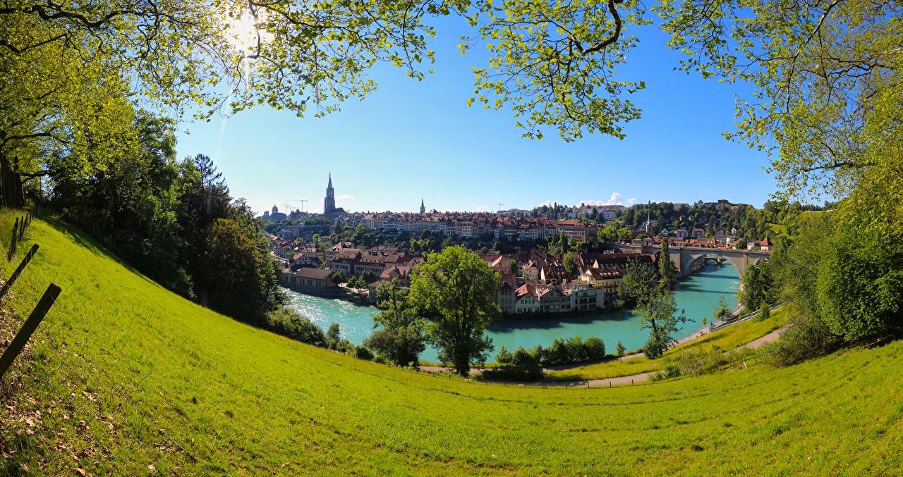 Images Bern Switzerland Aare River, Brunnadern Grasslands river Cities Meadow Rivers