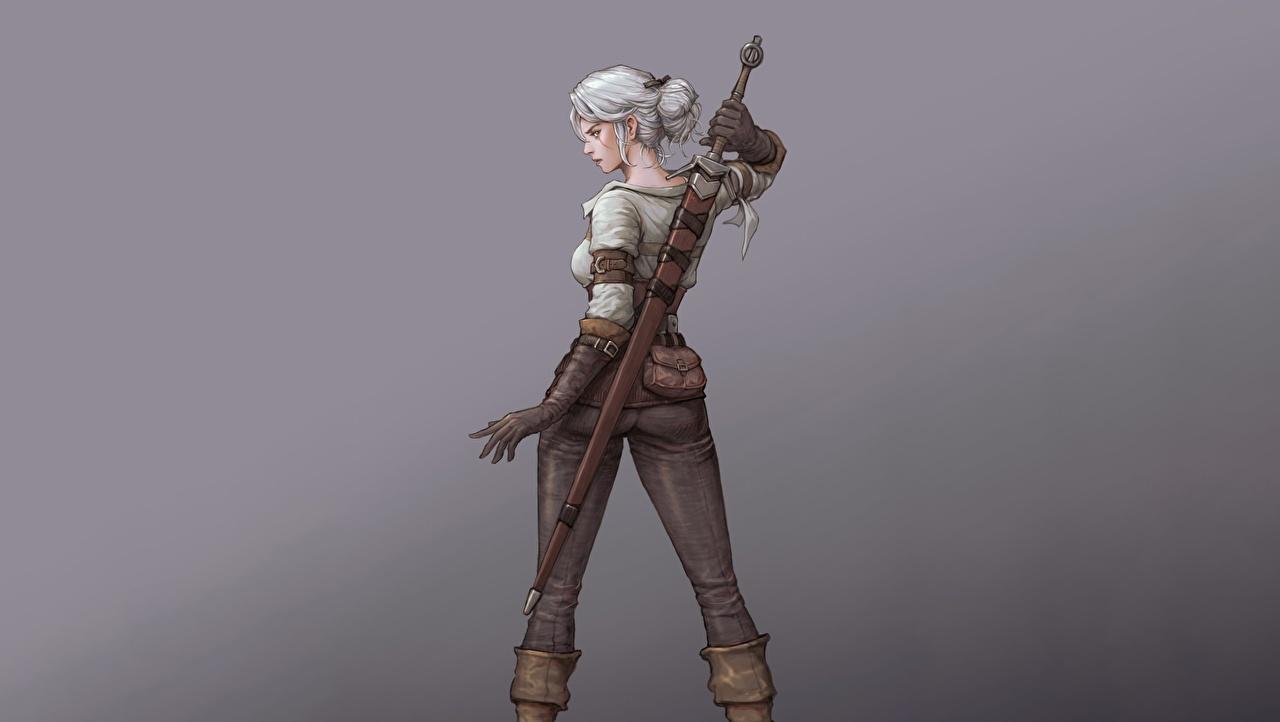 Fotos von Fantasy The Witcher 3: Wild Hunt Grauer Hintergrund Schwert Krieger Hinten Spiele junge frau Blondine Ciri Fan ART Gezeichnet Mädchens junge Frauen computerspiel Blond Mädchen Fanart