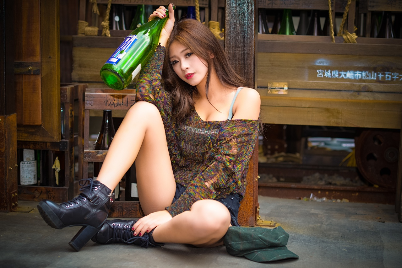 Wallpaper Brown haired young woman Legs Asiatic sit Hands bottles Girls female Asian Bottle Sitting