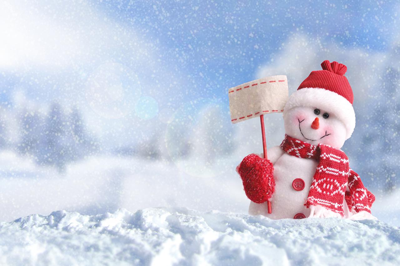 壁紙 新年 冬 雪 雪だるま 暖かい帽子 スカーフ 襟巻き 自然