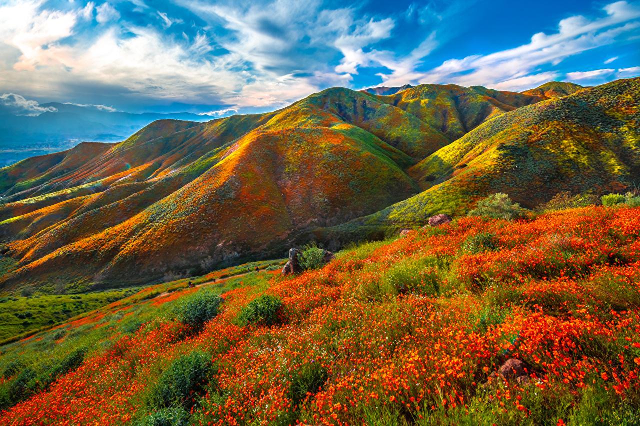 Foto Kalifornien Vereinigte Staaten Walker Canyon Natur Gebirge Frühling Wolke USA Berg