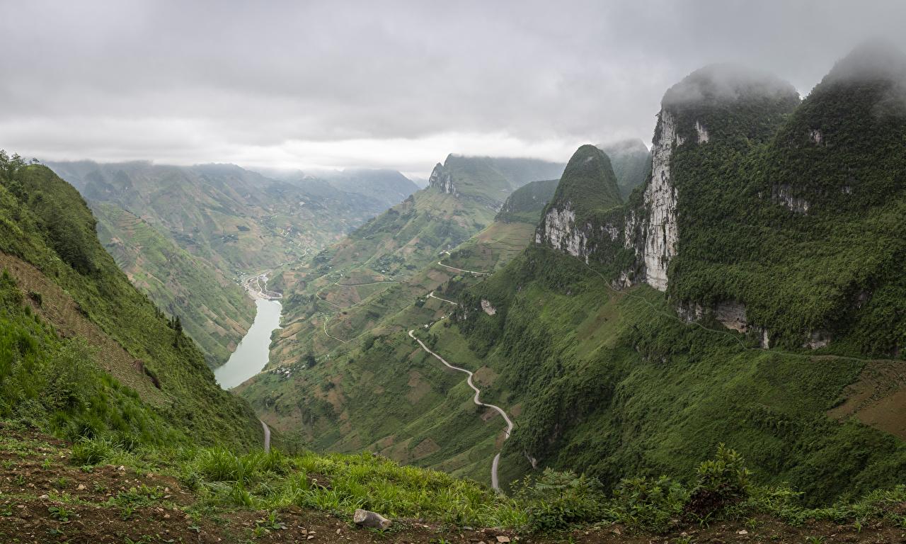 Wallpaper Vietnam Ha Giang Trail Canyon Nature Mountains Moss river path canyons mountain Rivers