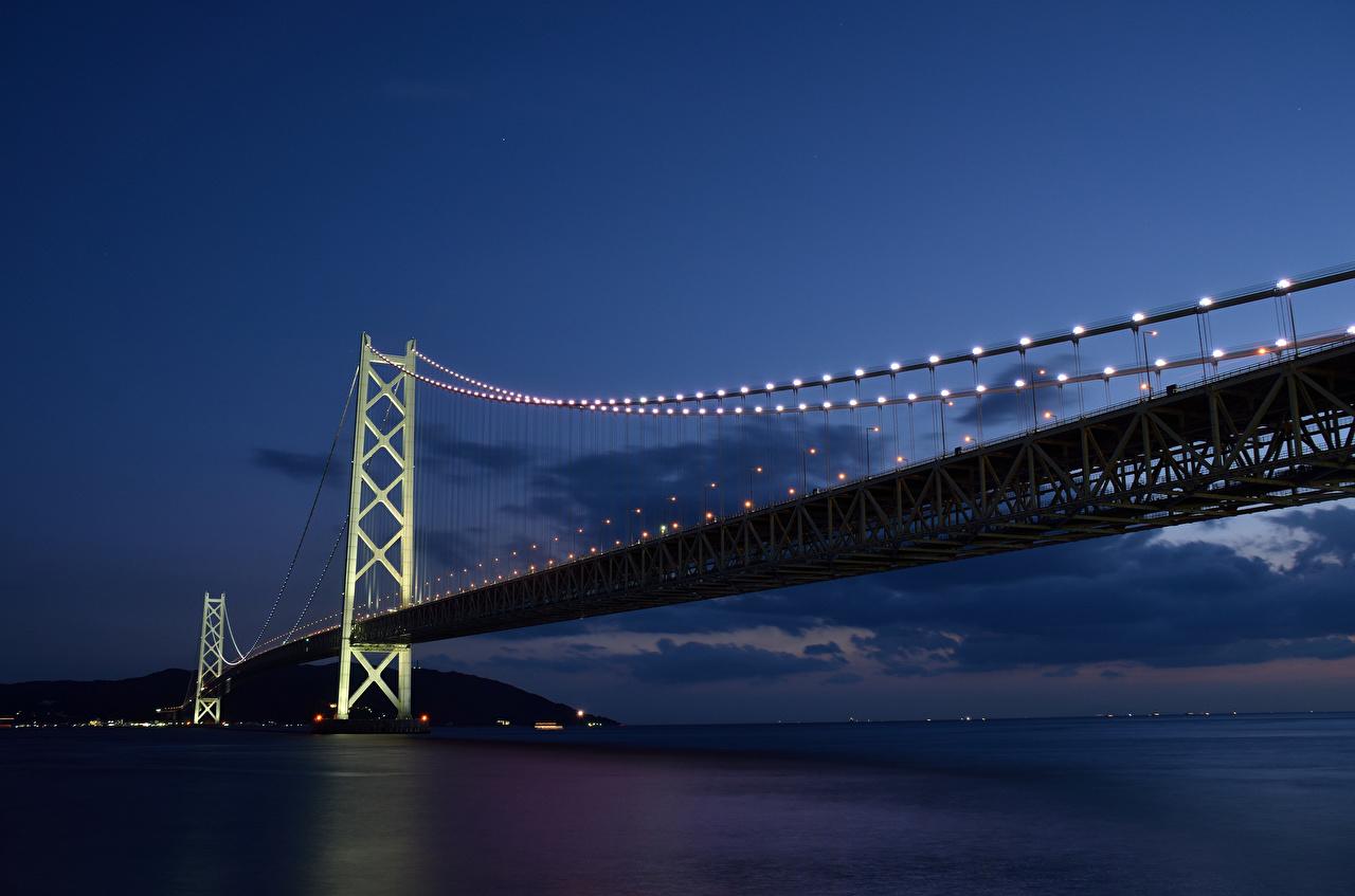 Afbeeldingen Japan Bruggen Nacht een stad brug Steden