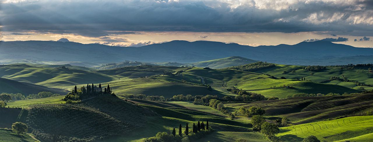 Desktop Wallpapers Nature Tuscany Italy panoramic Clouds Mountains Alps Scenery Hill Panorama mountain landscape photography