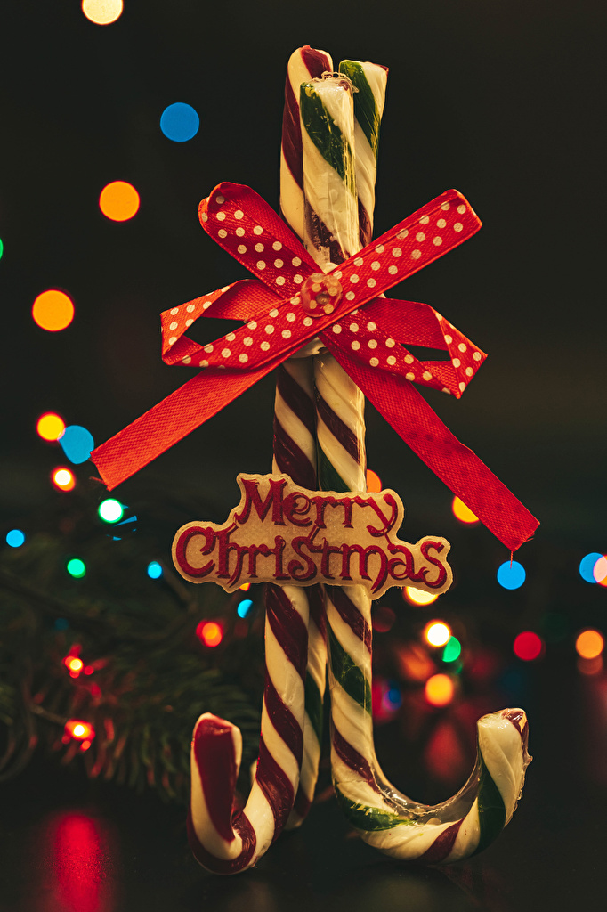 Picture Christmas English Two Lollipop Word - Lettering Food bow knot Gray background  for Mobile phone New year 2 text lettering Bowknot