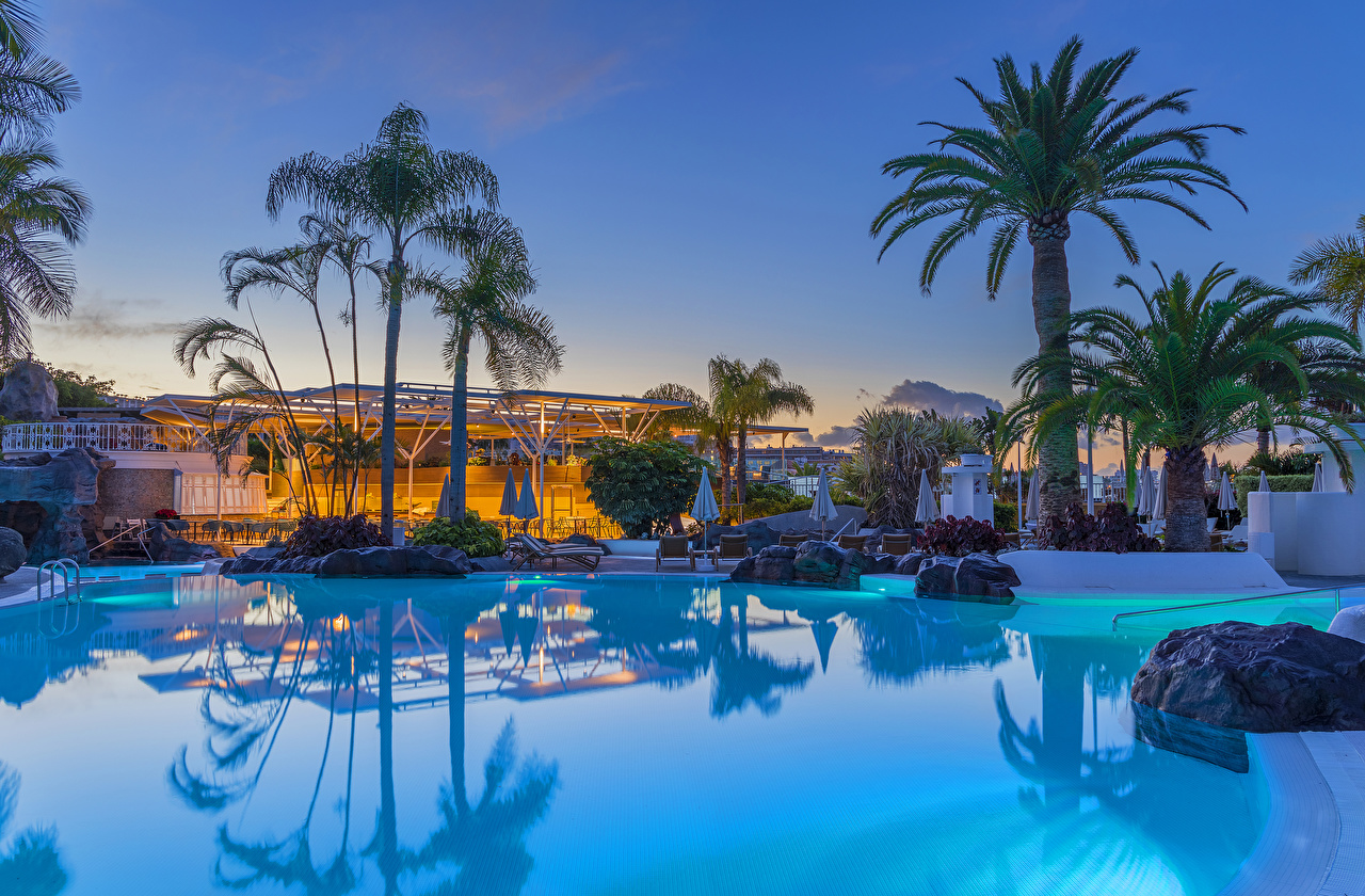 Photos Canary Islands Spain Resorts Swimming bath Playa Fanabe Palms Stones Evening Cities Pools Spa town palm trees stone