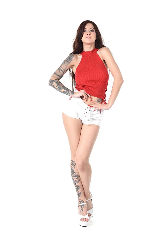 Foto Mädchens Tanya Bahtina Hand Weißer hintergrund Brünette Bein Shorts Pose Tätowierung iStripper  für Handy junge frau junge Frauen posiert