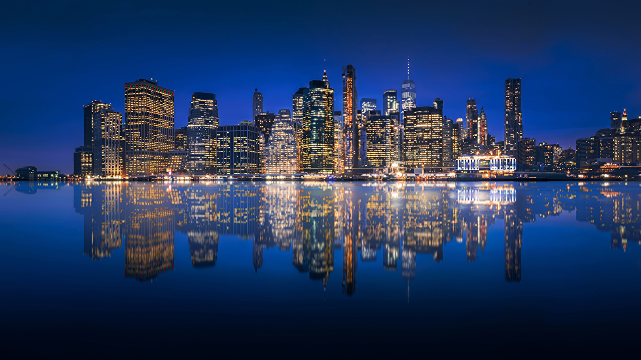 Photos Manhattan New York City USA reflected river Night Houses Cities Reflection Rivers night time Building
