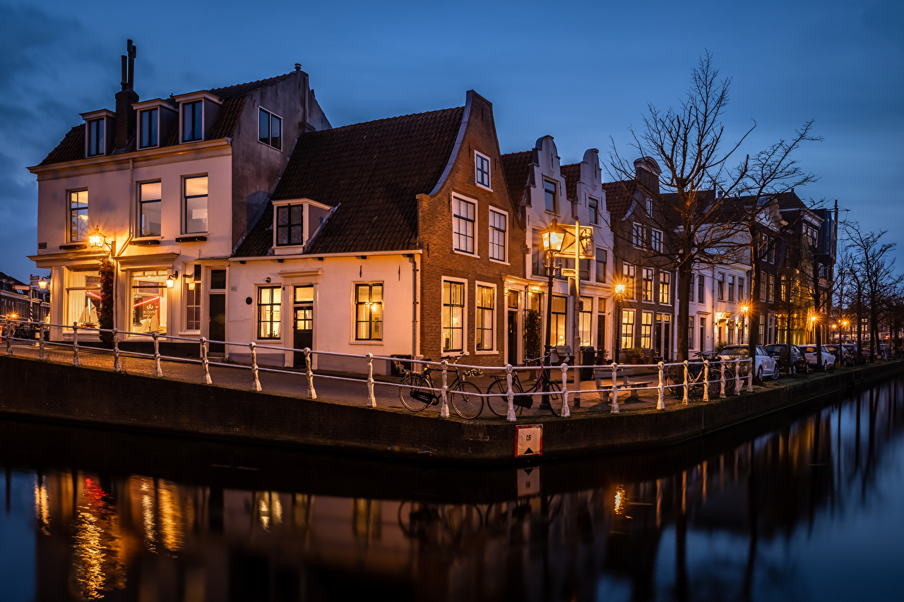 Wallpaper Netherlands Haarlem Canal Evening Waterfront Cities Building Houses