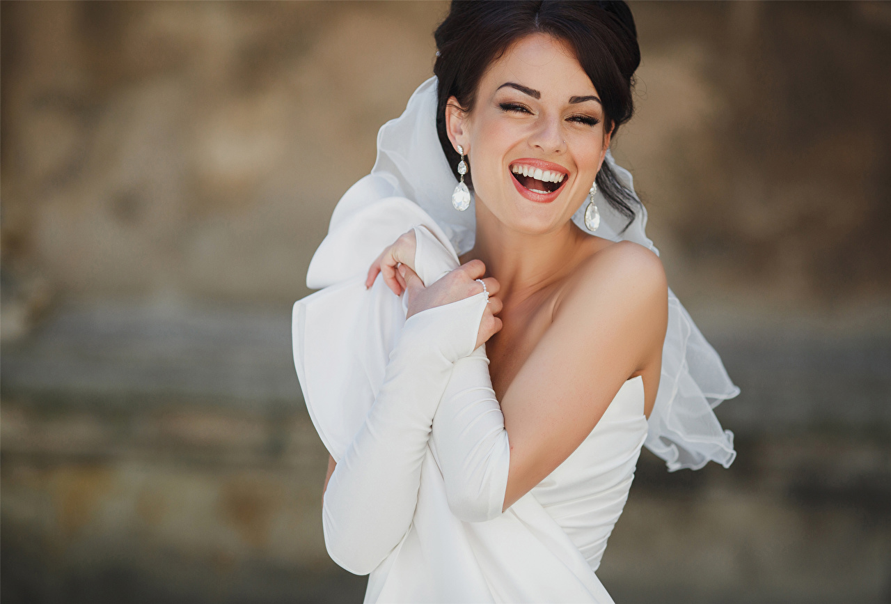 Pictures brides Brunette girl laugh happy White Girls Earrings gown Bride Joy laughs joyful Laughter female young woman frock Dress